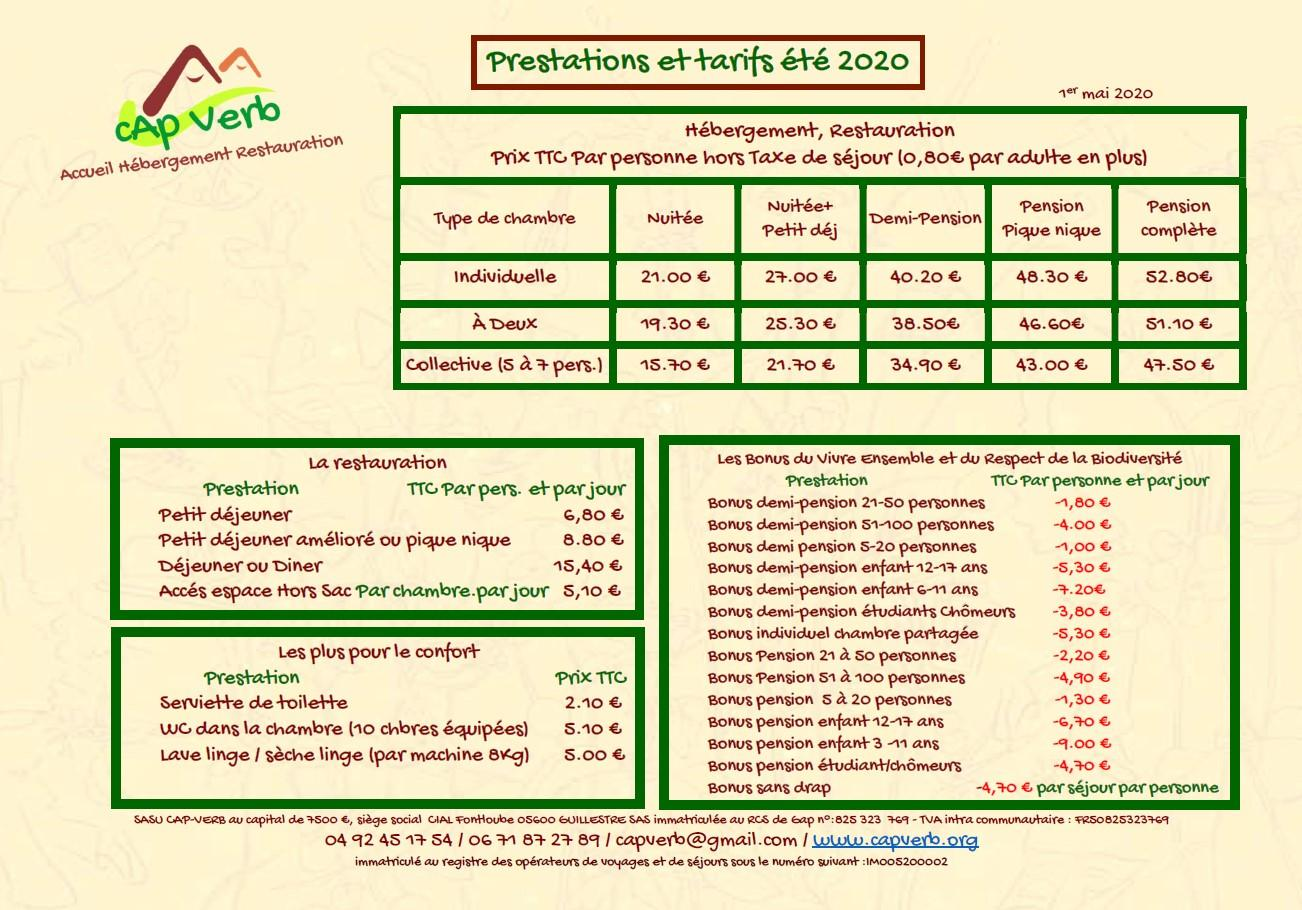 Prestation et tarifs 2021